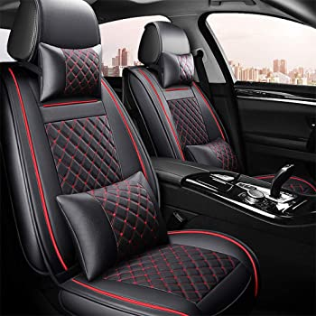 Universal Deluxe 5-Seat Car Seat Cover Full Set Cushion Front /& Rear Black White