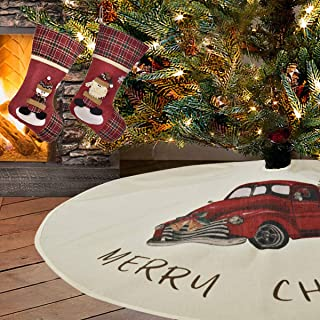 48 inches Merry Christmas Tree Skirt, Xmas Tree on Red Truck Tree Skirts, 2 Pcs Snowman Santa Xmas Stockings, for Christmas Decorations Indoor Outdoor