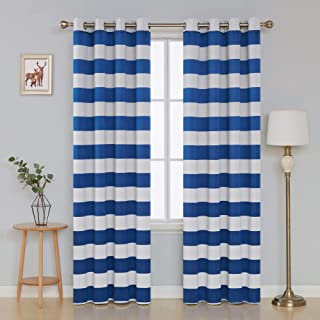 Deconovo Striped Light Filtering Curtains Grommet Nautical Thermal Insulated Curtains for Kids Room 52W X 84L Royal Blue 2 Panels