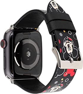 Lovely Style Watch Band Strap Cute Dressy Leather Wristband Bracelet Compatible with 40mm 38mm Apple Watch Series 4/3/2/1 (Black)