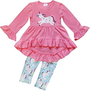 So Sydney Toddler Girls 2-3 Pc Hi Lo Ruffle Flare Tunic Top Outfit - Unicorn, Fall, Floral
