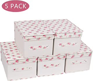 NA&CO SEASON 5 Pack Large Sturdy Foldable Storage Bins with Lids and Handle,Cotton Fabric Storage Boxes(7.5''x9.45''x14.2''),Containers Organizer for Home, Nursery, Closet, Office(Pink Flowers)
