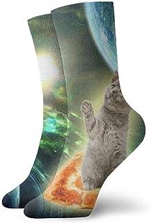 Novedad Divertido Crazy Crew Sock Curious Cat Take Pizza en Galaxy Impreso Sport Calcetines deportivos 30cm de largo Calcetines personalizados de regalo