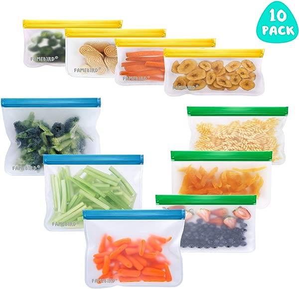 可重复使用的食品收纳袋 10 个装防漏冷冻袋 6 个可重复使用的三明治袋 4 个可重复使用的零食袋特厚 BPA 免费自封袋用于食品储存的午餐袋弥补旅行家庭组织
