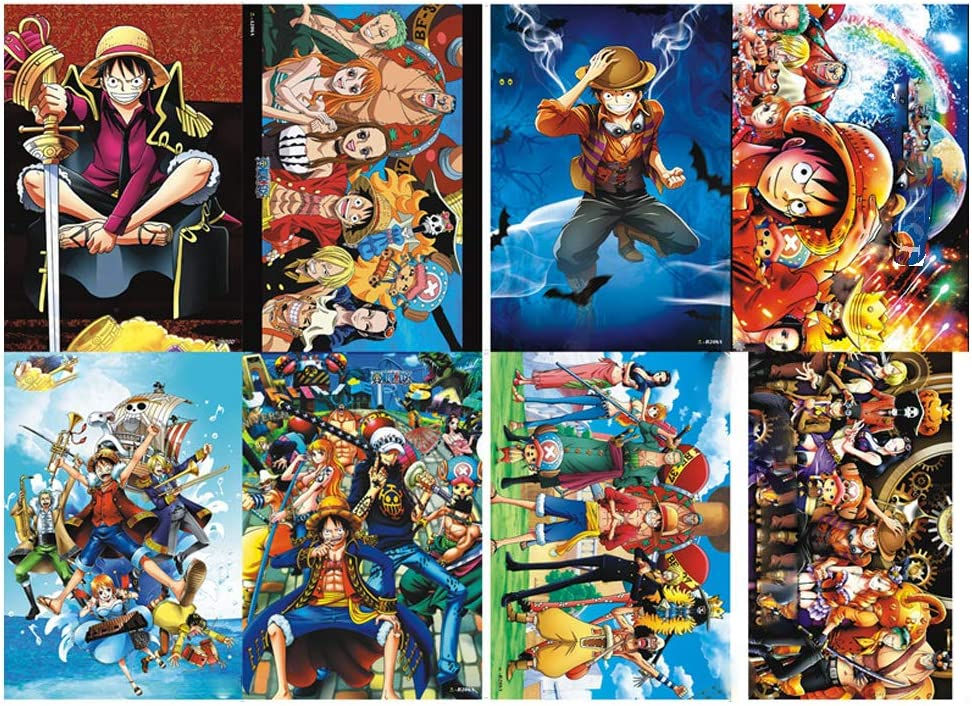 8Pcs Wall Poster One Piece Pirates Poster Anime One Piece Pirates Posters Gift Set for Fans Unframed Version