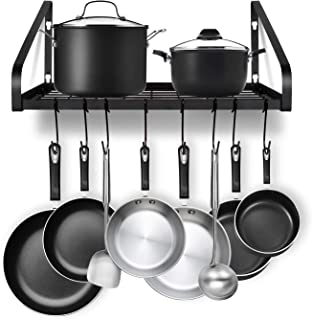 Hanging Pot Rack, G-TING Pot and Pan Organizer Wall Mounted Pots Holder Kitchen Storage Shelf with 8 Hooks, Ideal for Pans...