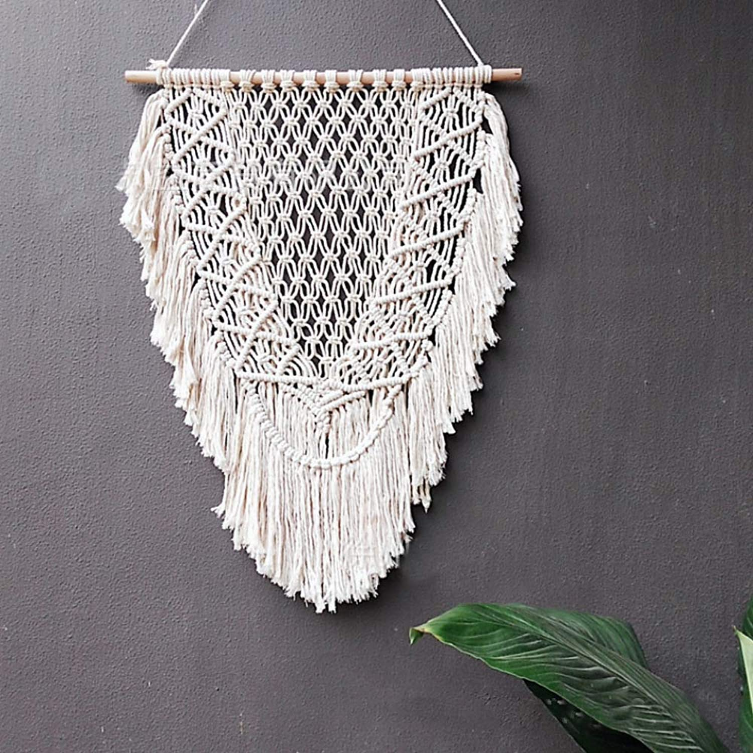Macrame Wall Hanging Hand-Woven Tapestry Background Decorative Bohemian Tassel Wall Decoration