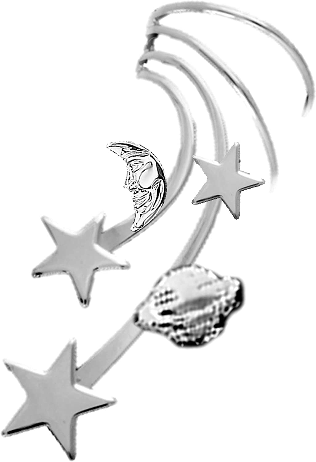 Ear Milwaukee Mall Charms Galaxy Long Wave Cuff Left Non Pierced Wr Earring Max 64% OFF