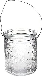 Annastore 12 Stück Windlichter aus Glas zum Hängen mit Henkel H 7 cm -Teelichtgläser klar im Vintage Look - Hängeteelichthalter