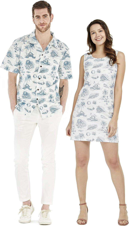Couple Matching Hawaiian Luau Cruise Outfit Shirt Dress in Various Patterns