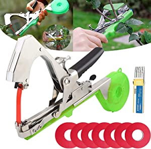 Plant Vine Tying Machine Garden Plant Tape Tool Plant Vine Tying Machine Hand Agriculture Tool with 10 Rolls Tape and 1 Box of Staples Set for Vegetable Grape Tomato Cucumber Pepper and Flower (Green)