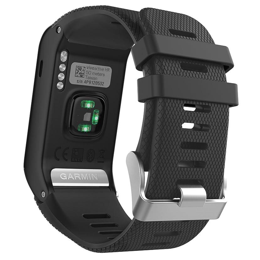 押し下げる寸前粘液Garmin Vivoactive J HR バンド - ATiC Garmin Vivoactive J HR専用ソフト 高級 シリコーン製腕時計ストラップ/バンド 交換ベルト BLACK