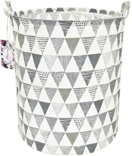 """TIBAOLOVER 19.7"""" Large Sized Waterproof Foldable Canvas Laundry Hamper Bucket with Handles for Storage Bin,Kids Room,Home Organizer,Nursery Storage,Baby Hamper(Triangle Pattern-Grey)"""