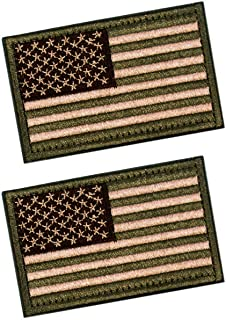 2 PCS Tactical Patches of USA US American Flag, with Hook and Loop for Backpacks Caps Hats Jackets Pants, Military Army Uniform Emblems, Size 3x2 Inches