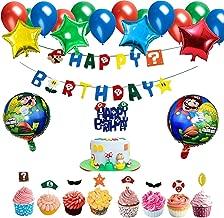 Mario Birthday Party Supplies - Super Mario Bros Happy Birthday Banner Balloon Cake Toppers Party Mario Decorations Kit