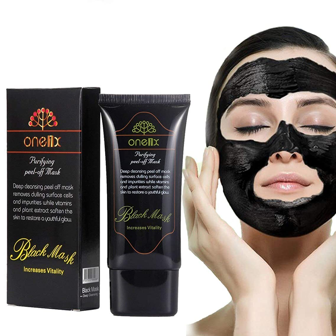 DISAAR Blackhead Activated Natural Charcoal Cleansing Mask, Wash-Off Nursing Face Masks Deep Cleansing Peel-off Mask,Black Mud Face Mask 50ml
