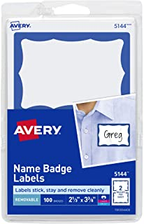 """Avery Name Tag Stickers, Blue Border, Print or Write, 100 Removable Name Badges, 2-1/3"""" x 3-3/8"""" (5144)"""