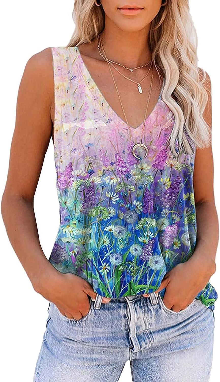 POLLYANNA KEONG Tank Tops for Women Casual Summer,Womens Tank Tops Summer Loose Color Block Casual Sleeveless Tshirts