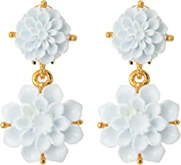 Gold and White Carved Resin Flower Drop Clip Earrings