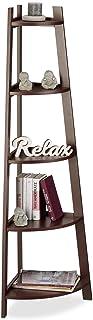 Relaxdays Estantería Rinconera Estrecha, Madera MDF, Marrón, 37x53x144 cm