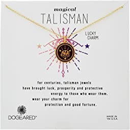 Dogeared - Magical Talisman Lucky Charm, Small Elephant Maroon Enamel Talisman Necklace