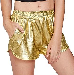 Color : Gold, Size : M YUNGYE Pole Dance da Donna Shorts Metallizzati Lucidi Pantaloncini Bottone in Pelle Verniciata Cerniera Posteriore Vita Alta Breve Stile Bottoms Dance Raves