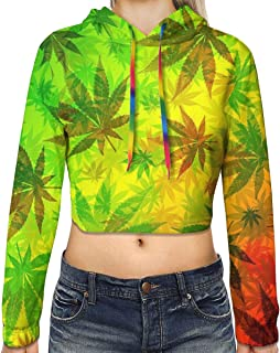 Women Long Sleeve Crop Top Hoodies Rainbow Cannabis Pattern Hoodie Cute Graphic Loose Pullover Tops Hoodie