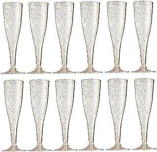 Hainice 12 pcs Champagne Flûts Verre jetable en Plastique Transparent en Plastique Coussin à vin Fournitures de Mariage en...