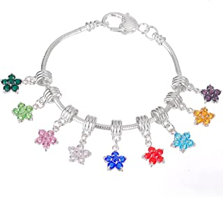 RUBYCA 10Pcs Mix Assortment Flower Dangle Pendant Charm Beads Crystal Rhinestone European Bracelet