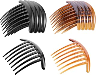 Tatuo 20 Pieces 7 Tooth French Twist Comb Plastic Hair Clip Hair Side Combs Hair Accessory for Women Girls, Black and Brown