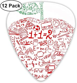 Guitar Picks - Abstract Art Colorful Designs,Apple With School Symbols Basic Formulas Exercise Study School Theme,Unique Guitar Gift,For Bass Electric & Acoustic Guitars-12 Pack