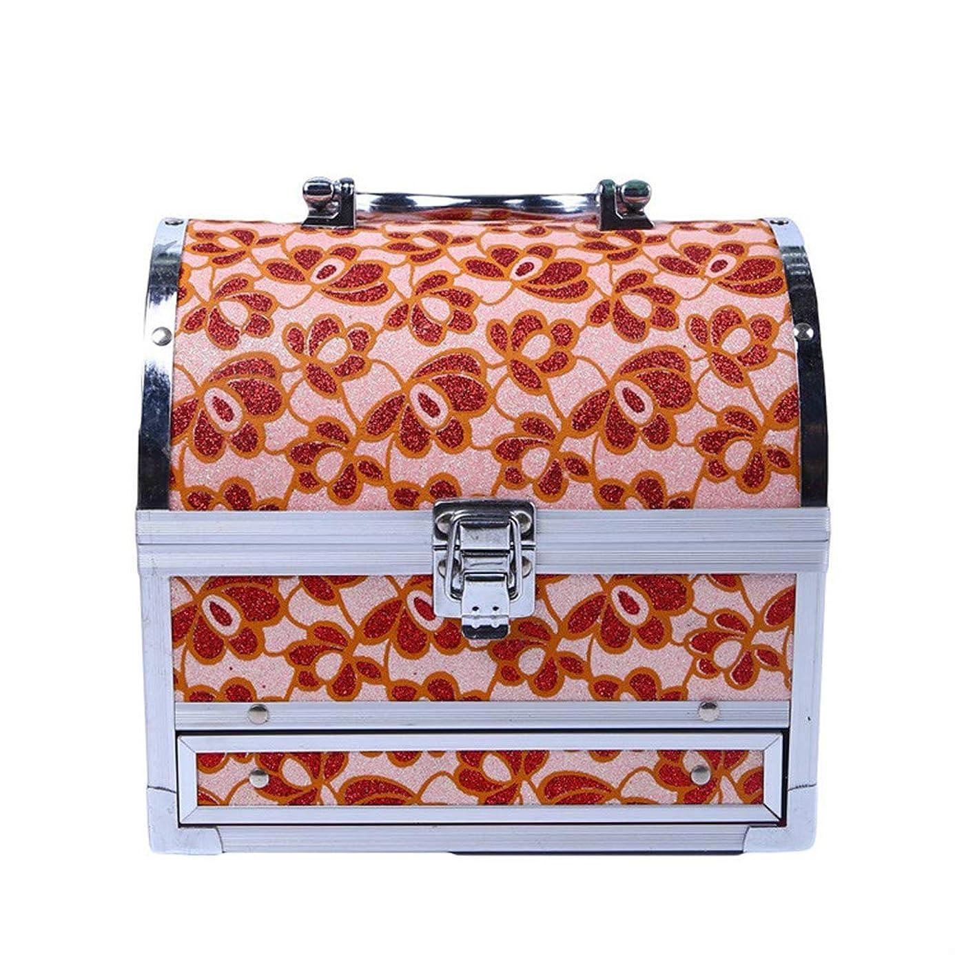 タック創造リム化粧オーガナイザーバッグ 美容メイクアップのための大容量ポータブル化粧ケース、女性化粧ミラー付きのロック付き女性旅行と毎日の保管 化粧品ケース