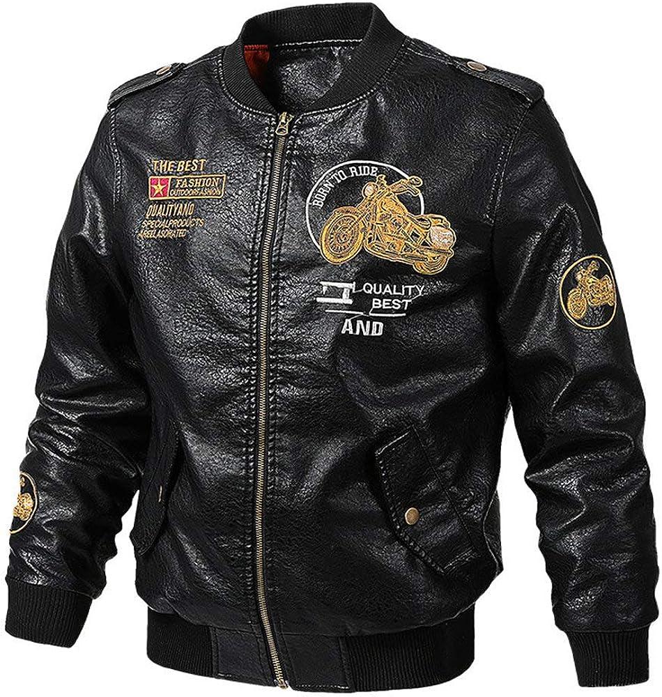 Mens Leather Jacket Aviator Jacket Motorcycle Suit Warm Flight Leisure Jacket