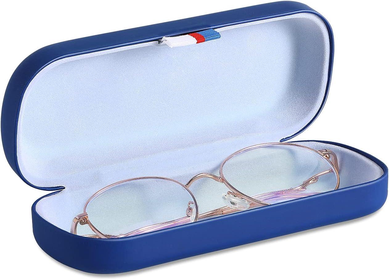 MoKo Caja Protectora Rígida de Gafas de PU, Estuche de Anteojos Universal con Paño de Limpieza, Organizador Portátil con Cinta para Almacenar Gafas de Lectura Gafas Ópticas Gafas de Sol
