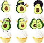Avocado Dessert Cupcake Topper Green Glitter Holy Guacamole Theme Decorations Baby Shower Happy Birthday Party Decor Supplies Set 18pcs