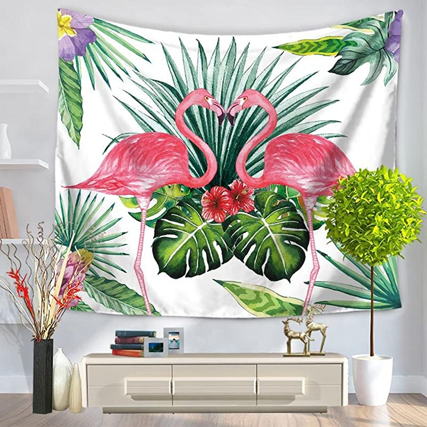 攻撃的極貧一見DNSJB 長方形のポリエステル生地の壁掛け装飾的なタペストリー熱帯雨林フラミンゴプリントテーブルクロスカーテン (Color : E, Size : 150*130 cm)