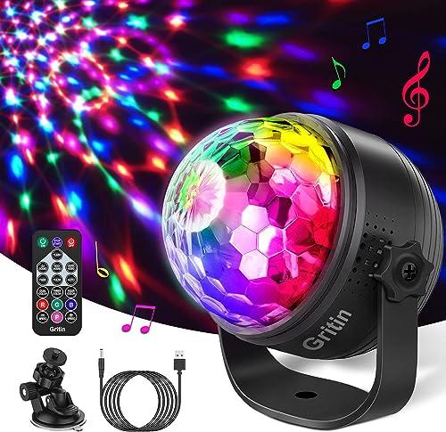 Boule Disco, Gritin 15 Couleurs Boule à Facette Commande Vocale Lampe de Scène, Lumière Fête 360° Rotation, Jeux de L...