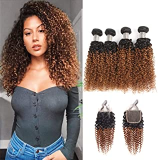 Jiuling 2 Tone Ombre Kinky Curly 4 Bundles with Closure 100% Unprocessed Virgin Human Hair (18182020+12,1B/30) Wet and Wavy Ombre Brazilian Kinky Curly Human Hair Weaves