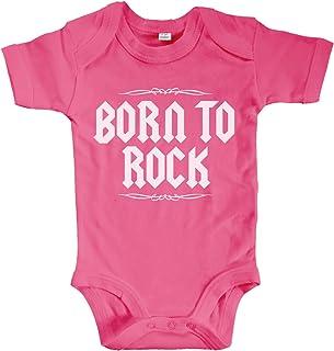 net-shirts Organic Baby Body mit Born to Rock Aufdruck Rock n Roll Heavy Metal Strampler Babybekleidung aus Bio-Baumwolle mit Zertifikat
