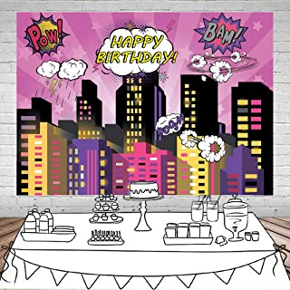 SJOLOON 11476 Superhelden Hintergrund für Party, Superhelden, Stadt, Fotohintergrund für Mädchen, Geburtstag, Party, Dekoration, Vinyl, Studio Requisiten