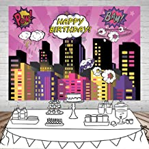 SJOLOON 7X5FT Superhero Background for Party Superhero City Photo Background Pink Girls Birthday Party Decorations Vinyl Studio Props 11476