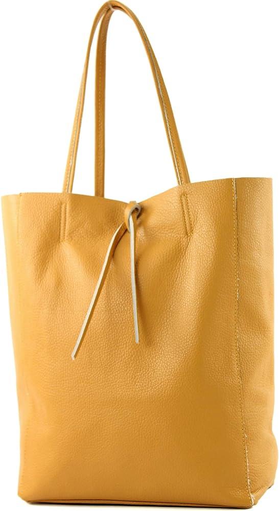 Modamoda de, borsa in pelle, shopper per donna a spalla, giallo senape T163SENFGB_afn