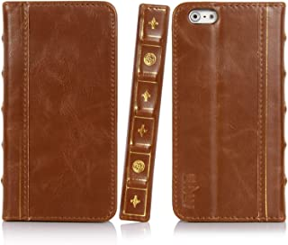E LV iPhone 6S Case, iPhone 6 Case Cover - PU Leather Book Style Wallet Flip Slim Case Cover for iPhone 6S / iPhone 6 with 1 Stylus and 1 Screen Protector - Brown