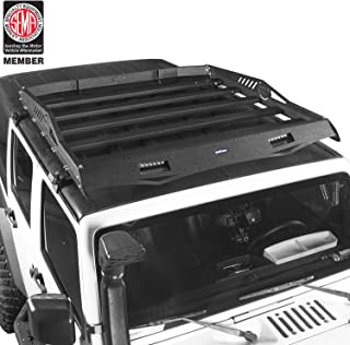 u-Box 4 Door Roof Rack Cargo Basket Hardtop Half Rack with Wind Deflector Fit for 2007-2018 Jeep Wrangler JK 4 Doors