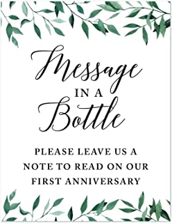 Andaz Press Wedding Party Signs, Natural Greenery Green Leaves, 8.5x11-inch, Message in a Bottle, Please Leave Us a Note to Read on Our First Anniversary, 1-Pack