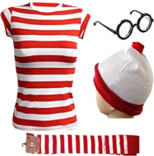a5945e525c Gizelle Ladies Women's Girls RED & White Strips T-Shirt KIT Hen Party  Costume Book