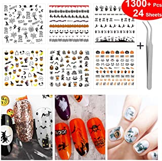 1300+ Pcs Halloween Nail Art Stickers Decals Pumpkins Ghost Witches Bats Tombstones Spiders Skulls Bloody Stain Maple leaves Haunted Houses Skulls Owls Fingernails Decorations Decal Sticker 24 Sheets