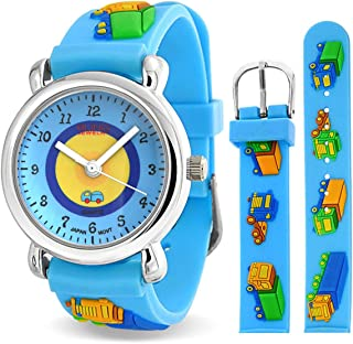 Teacher Time Quartz 3D Construction Toy Truck Wrist Watch for Teen Blue Silicone Wristband Round White Dial