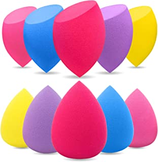 BEAKEY Makeup Sponge, 10 Pcs Latex-free and Vegan Makeup Blender Beauty Sponge, Flawless for Cream, Liquid Foundation & Powder Application (Multi-colored)
