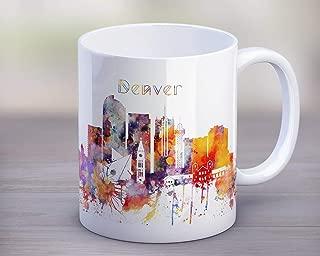 HAPPY MUG, Denver Unique Tea Mug, Colorado Cityscape Mug, Skyline Cup, Silhouette Mug, Kitchen Gift, Travel gift, Gift for christmas, Mug 11oz